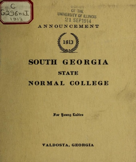 Cover of the first announcement of the South Georgia State Normal College for Young Ladies, 1913