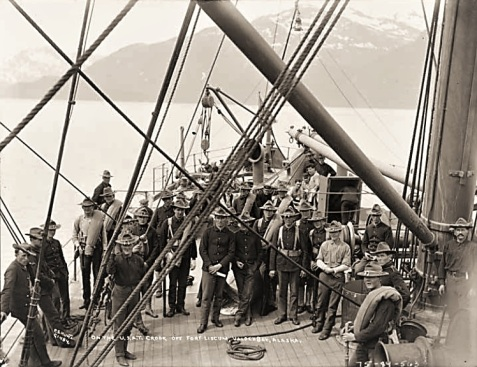 Soldiers on deck of former SS Roumanian (USAT Crook) photographed in Alaska in 1929
