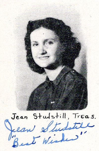 Yearbook portrait, Jean Studstill, Ray City School, Class of 1949, Treasurer
