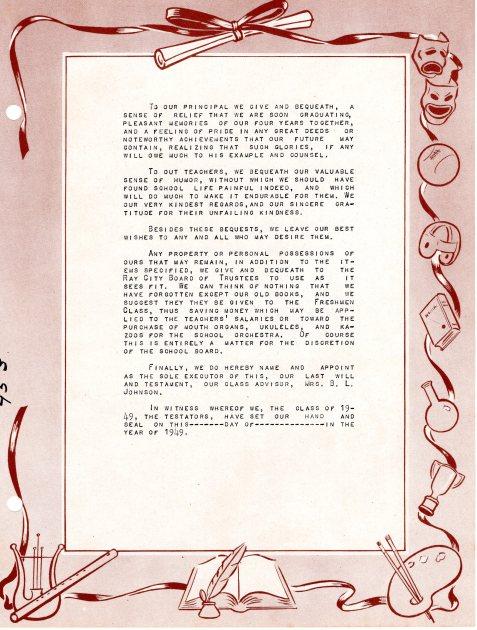 Ray City School Class of 1949 ~ Class Will, pg 2