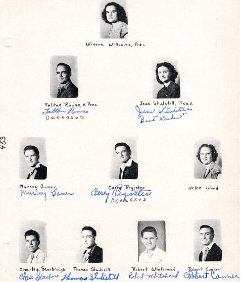 Yearbook photos Class of 1949, Ray City High School, Ray City, GA
