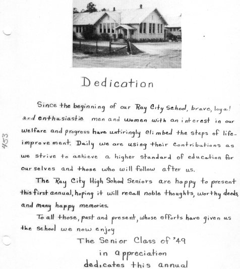 Ray City High School yearbook dedication, Class of 1949