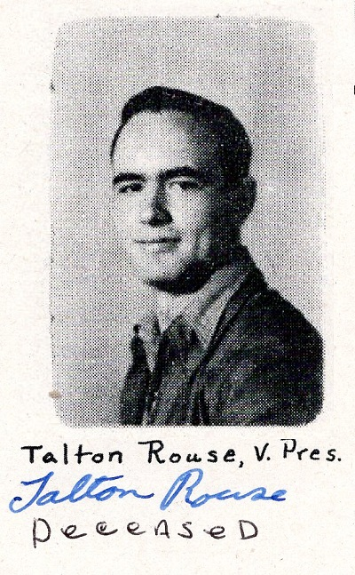 Yearbook portrait Talton Rouse, Ray City School, Class of 1949, Vice President