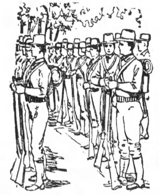 1898 sketch of soldiers at Camp Northen, near Griffin, GA