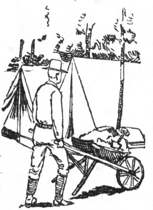 1898 sketch of soldier on detail cleaning company streets at Camp Northen, near Griffin, GA