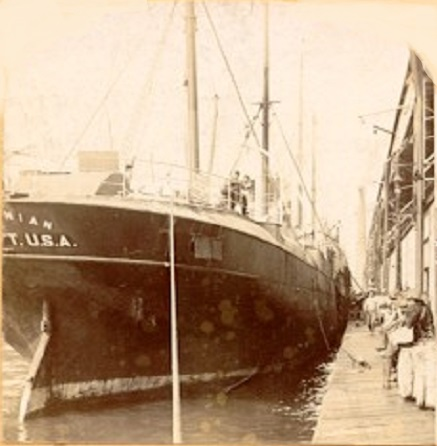 SS Roumanian being loaded with supplies for the trip to Cuba.