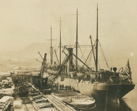 Former SS Roumanian (USAT Crook) photographed dockside in 1918.