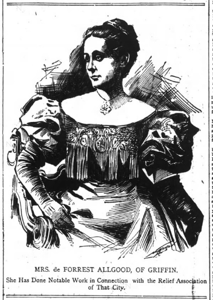 1898 engraving of Mrs. DeForest Allgood, of Griffin GA