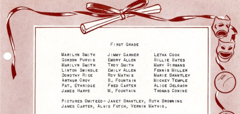 1949 Roster of First Grade Class of Ray City School,