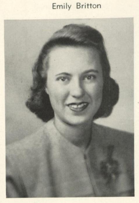 Emily Britton Parker, Wesleyan College senior portrait, 1947.