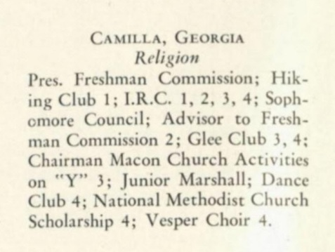 Emily Britton Parker, Wesleyan College accomplishments, 1947.
