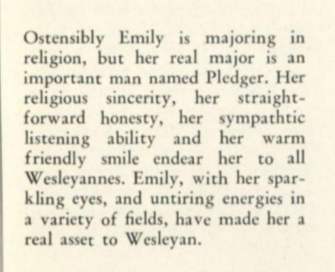 Emily Britton Parker, Wesleyan College senior portrait caption, 1947.