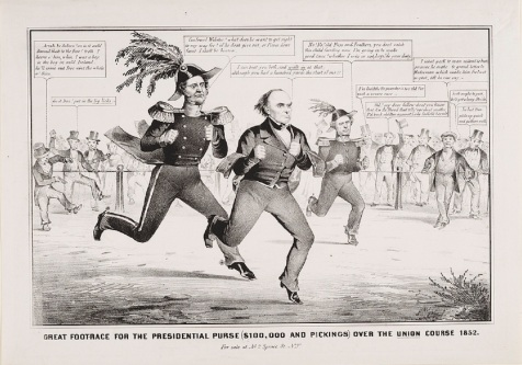 1852 Political Cartoon. Third party candidate Daniel Webster challenges Winfield Scott and Franklin Pierce for the presidency of the United States.