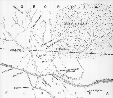 1836 map showing relative location of Franklinville, Camp Townsend, Camp Clyatt, Squire Swilley's, Warner's Ferry and other locations. Source: A Journey into Wilderness