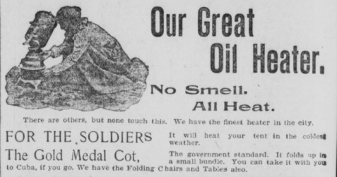November 24, 1898 Savannah Morning News. The Savannah firm Lindsey & Morgan advertised portable heaters for soldiers' tents during the Spanish American War.