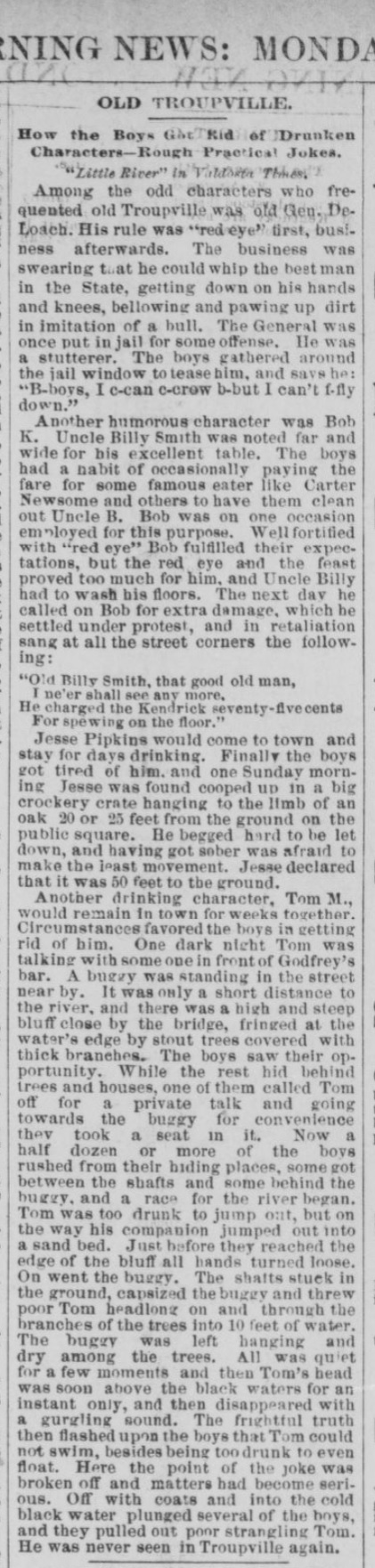 Tales of Old Troupville, GA in the Savannah Morning News, May 5, 1885