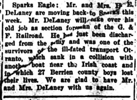 The Sparks Eagle reports the homecoming of Henry Elmo Delaney.