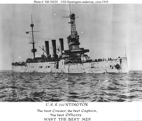 US Naval History photo of the USS Hunting underway, circa 1919. The cruiser USS Huntington was converted to a troop transport following the signing of the Amistice ending WWI.