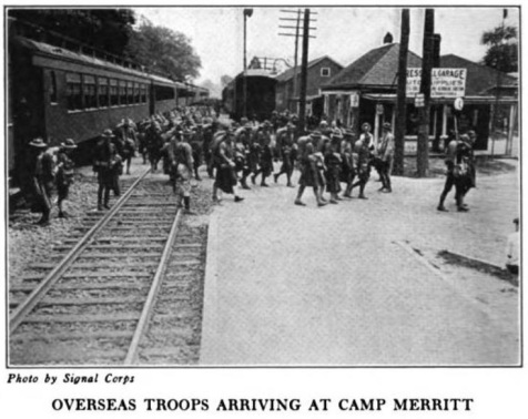 WWI soldiers home from France arriving at Camp Merritt, NJ