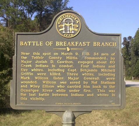 Battle of Breakfast Branch, March 9, 1818 -Georgia Historic Marker