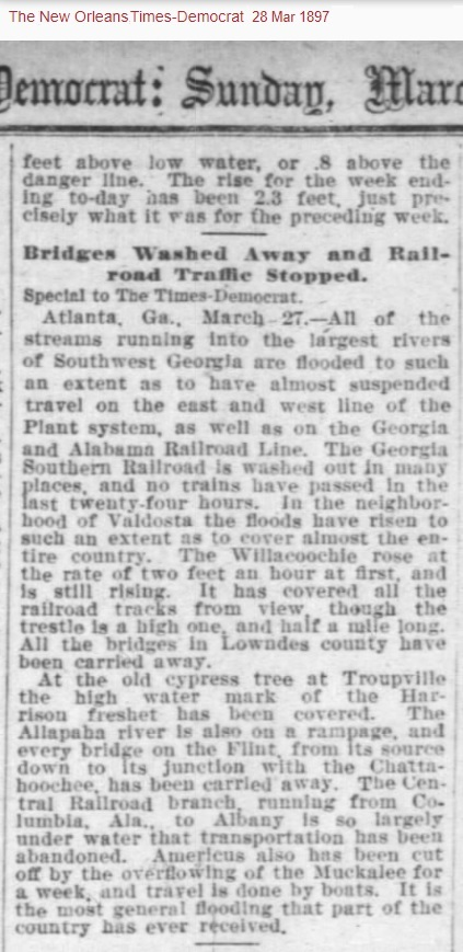 Troupville, GA flood of 1897 described in the New Orleans Times Democrat