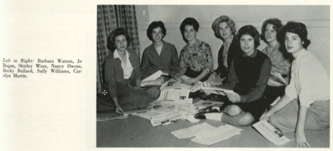 "Newspaper Staff, 1963, Town and Country, Wesleyan College, Macon, GA <br> The Name Town and Country dates back to the dates when the Wesleyan campus was in two locations, with the fine arts students in the conservatory in town, and the liberal arts students here at Rivoli. Since that time, of course, the entire school has been moved out to the present location, but the name of the newspaper has stayed with us. The ""T and C"" is published by the students bi-monthly and endeavors to represent the entire student body in its news coverage and in its editorial policies. The staff is composed of volunteers with a special emphasis being given to any major requirements except for advanced staff positions. In spite of its lack of professional guidance however, the paper has proven to be of almost professional quality and has shown the maintenance of high standards throughout."