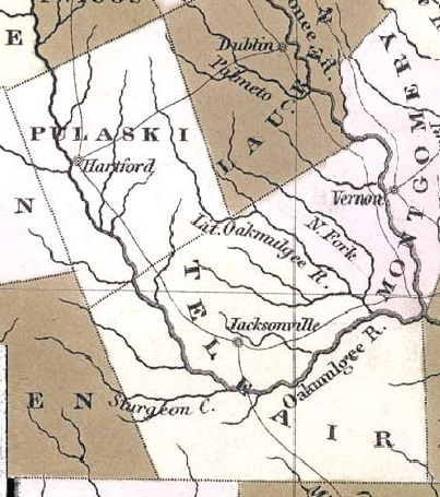 1822 map detail of Telfair County, GA and Pulaski County, GA