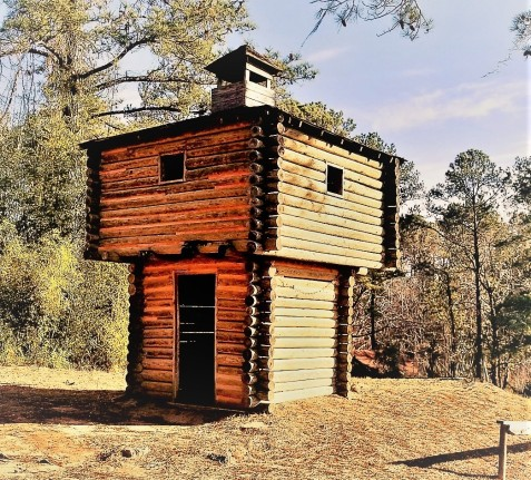Style of blockhouse typically constructed along the Georgia frontier during the early 1800s.