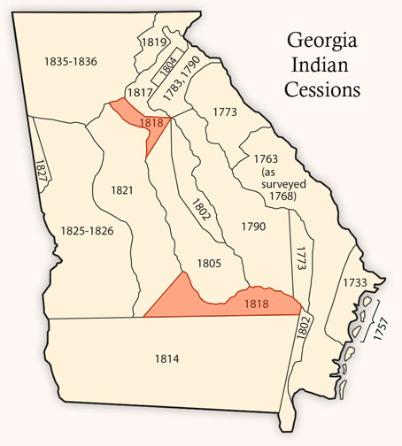 January 22, 1818 Treaty of Creek Agency Signed Creek Indians signed the Treaty of Creek Agency ceding to Georgia land south of the Altamaha River, plus land between the Appalachee and Chattahoochee rivers.