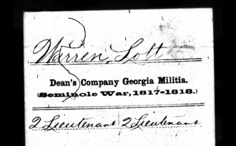 Seminole War service record of Lott Warren. Compiled Service Records of Volunteer Soldiers who Served During the Cherokee Disturbances and Removal in Organizations from the State of Georgia; (National Archives).