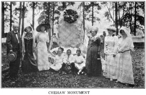 "Chehaw Monument dedicated June 14, 1912 by the Americus Chapter of the DAR. The Atlanta Journal said the monument commemorated ""the bloody massacre of innocent tribesmen, women and children by Captain Obed Wright, commanding a company of Georgia Militia, in 1818. The memorial is intended asa slight reparation for the great wrong thus done against a tribe of friendly Indians, and at a time when the men of the tribe were fighting in the ranks of Gen. Andrew Jackson;s two regiments sent against the Seminoles in the Florida Everglades in 1818."""