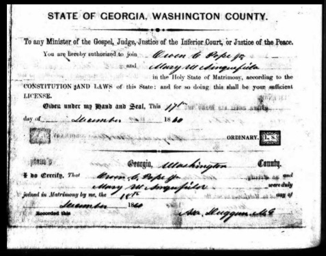 Marriage Certificate of Owen Clinton Pope, December 18, 1860