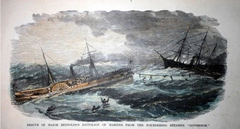 "Expedition Hurricane. Rescue of Major Reynolds's Battalion of Marines From The Foundering Steamer ""Governor."""