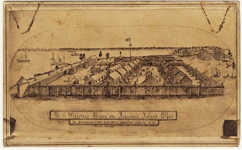 Sketch of U. S. Military Prison at Johnson's Island, Lake Erie.