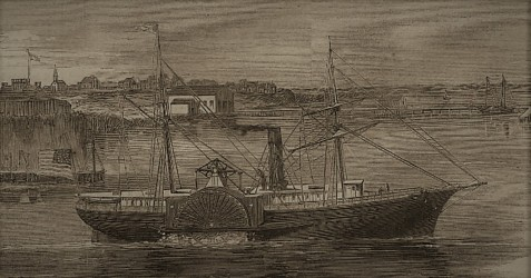 USS Daniel Webster, 1861, transported the 46th NY Regiment through the Expedition Hurricane to the Battle of Port Royal.