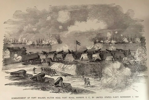 Bombardment of Fort Walker, Hilton Head, Port Royal Harbor, SC by United States Fleet, November 7, 1861. The Berry Infantry (later Company D, 29th Georgia Regiment) was among Georgia companies sent to defend the island. Image source: Campfire and Battlefield