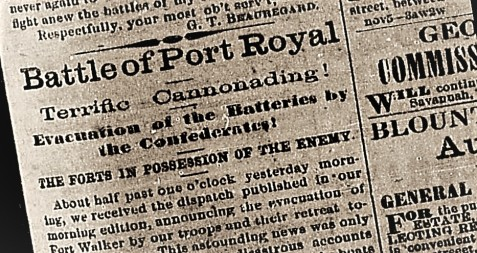 Battle of Port Royal headlines, Savannah Daily Morning News, November 9, 1861