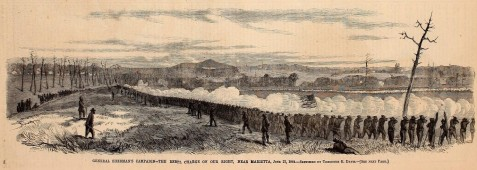 General Sherman's Campaign - The Rebel Charge on the Right, Near Marietta, GA, June 22, 1864. Harpers Weekly illustration of the Battle of Kolb's Farm, four miles west of Marietta, June 22, 1864. On the Federal line, General Schofield held the extreme right; on his left, General Hooker commanded the Marietta Road; General Howard held the center; and Palmer and McPherson extended the Federal line to Brush Mountain, on the railroad. Nearly all day the rebels engaged Howard, to divert attention from the right, where they were massing troops on the Marietta Road against Hooker. A furious attack was made by the Rebels at this point at five P.M.
