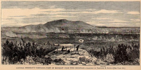 Harpers Weekly illustration - Sherman's view of Kennesaw Mountain from Pine Mountain, from a sketch drawn about June 15, 1864. In the distance is a view of Marietta. Between the two mountains the smoke ascends from three Federal encampments, belonging to the armies of the Cumberland, the Ohio, and the Tennessee. The Confederates under General Johnston hold a strong position on Kennesaw Mountain.