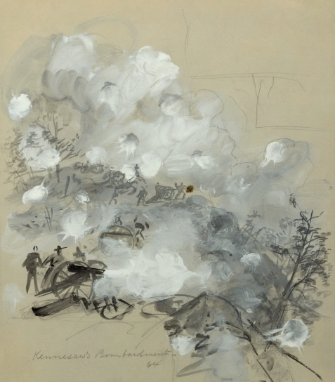 """Kennesaw's Bombardment, 64"", sketch of Union artillery in the Battle of Kennesaw Mountain, by Alfred Waud,"