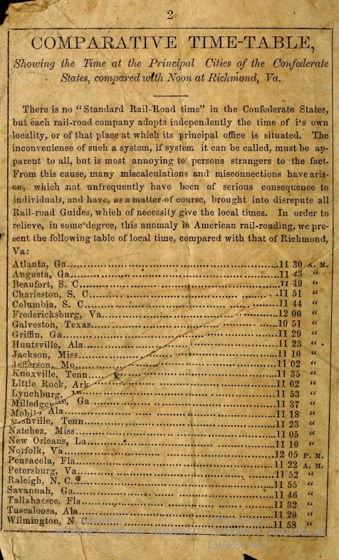 October 1862 Hill & Swayze Confederate States Railroad & Steamboat Guide - Comparative Time Table.