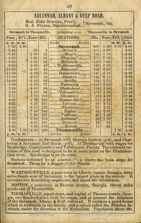 "1862 Train Schedule for the Savannah, Albany & Gulf ""Main Trunk"" Railroad serving Valdosta, GA"
