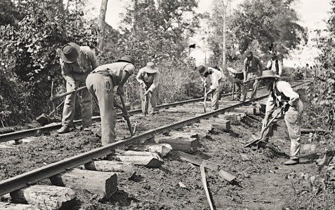 African Americans maintaining a southern railroad. In 1859, 1200 African American slaves labored to build the Atlantic & Gulf Railroad across Wiregrass Georgia, laying a little over a mile of track every week. The first train reached Valdosta, GA on July 30, 1860. Image: https://www.loc.gov/pictures/resource/cwpb.02135/
