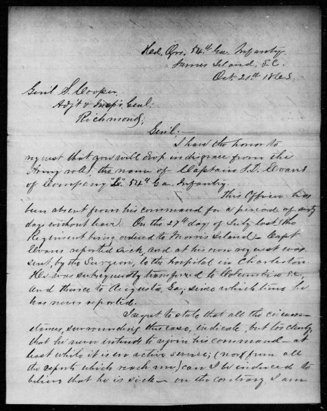 Col. Charlton H. Way letter of October 10, 1863 requesting Capt. J. D. Evans be dropped in disgrace from Army rolls.