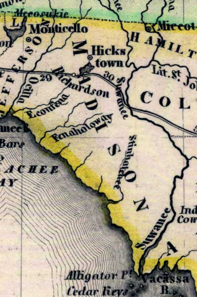 1845 Florida map detail showing Madison County, FL
