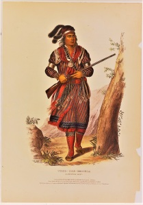 Portrait of Tukose Emaltha, a chief of the Miccosukee Indians, who was known by the english name John Hicks.