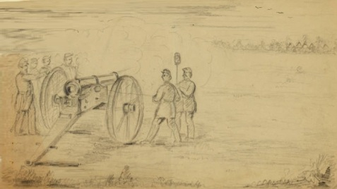 Civil War soldiers practice firing artillery cannon.