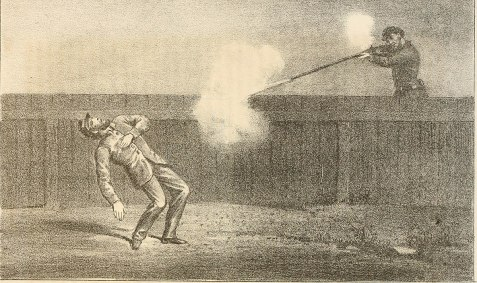Johnson's Island Prison guard shoots a Confederate. Scraps from the Prison Table