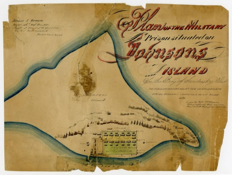 1862 Map of Johnson's Island Prison, Johnson's Island, Lake Erie, OH.