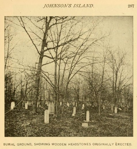 Confederate burial ground, Johnson's Island. Here in a spot as lonely as was ever selected for the burial of the dead, under branches low bending, amid shadows and silence, appeared long rows of sodden mounds, marked only by wooden headboards bearing each the name and age of deceased, together with the number of the command to which he had belonged.